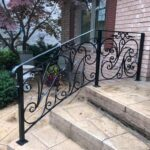 01237 Outdoor Porch Railings for stairs-SmithMetalWorks.ca